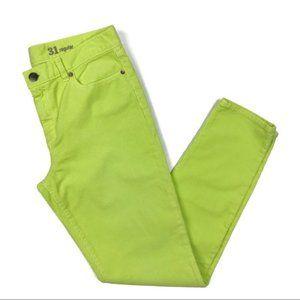 J. Crew Neon Green Toothpick Corduroy Pants